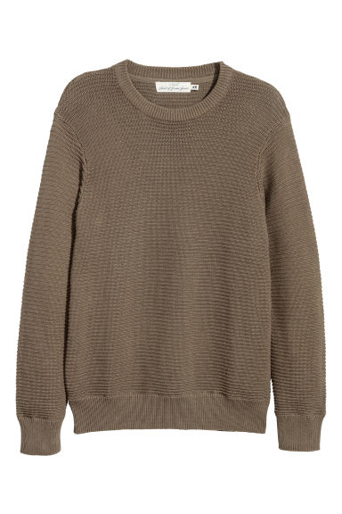 Rib-knit cotton jumper - Dark khaki green - Men | H&M