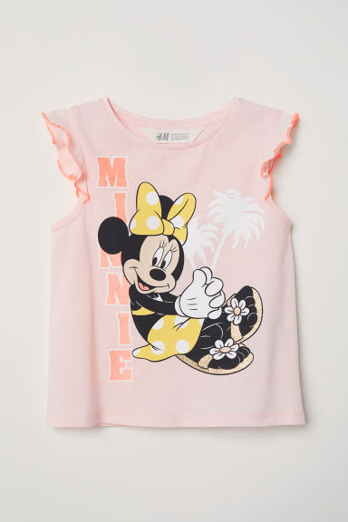 Tricot top met print - Lichtroze/Minnie Mouse - KINDEREN | H&M BE