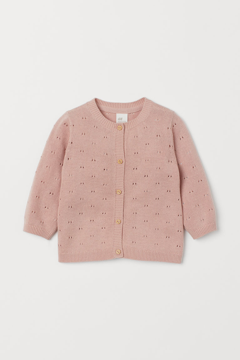 Pointelle cotton cardigan - Powder pink - Kids | H&M
