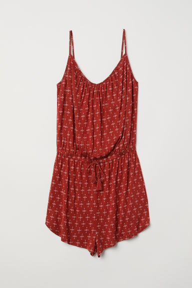 Playsuit - Rust red/Patterned - Ladies | H&M CN
