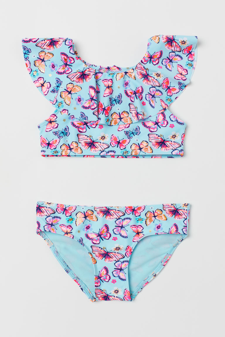 Frilled bikini - Light turquoise/Butterflies - Kids | H&M