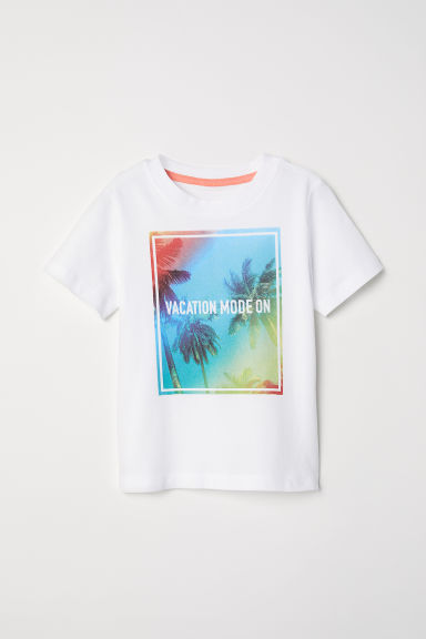 Printed T-shirt - White/Vacation Mode On - Kids | H&M