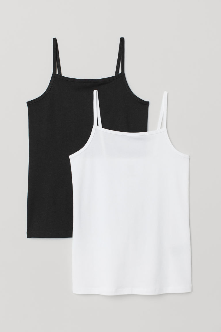 2-pack jersey strappy tops - Black/White - Kids | H&M CN