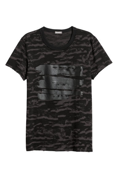 Patterned T-shirt - Black/Grey patterned - Men | H&M CN
