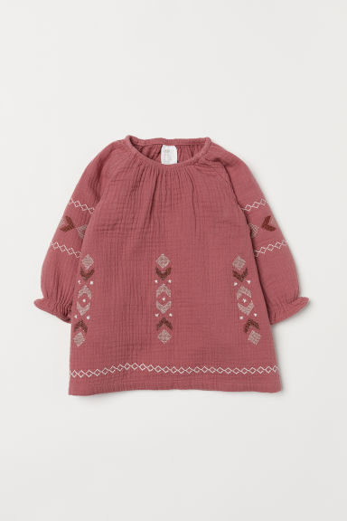 Embroidered dress - Dark old rose - Kids | H&M CN