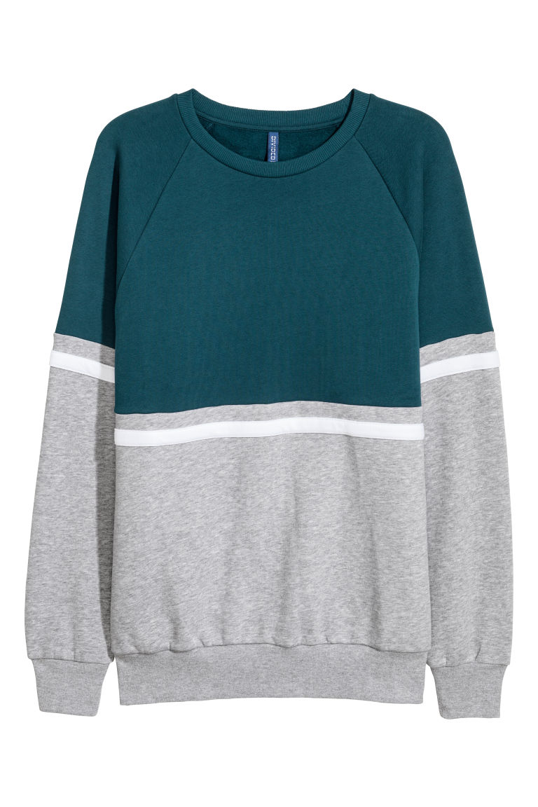 Sweat-shirt color block - Pétrole/gris chiné - HOMME | H&M BE