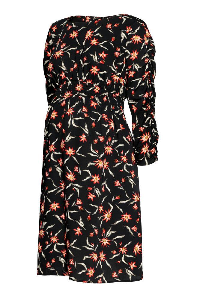 fe9cfbd2b61e MAMA Vzorované šaty - Černá květovaná - ŽENY