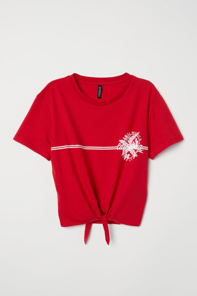 T-shirt with a tie - Red/California - Ladies | H&M