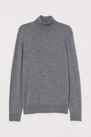 Merino wool polo-neck jumper