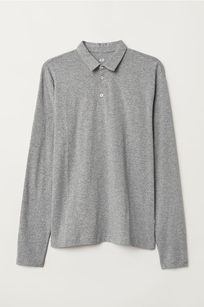 2523ca5e9 Long-sleeved top Slim Fit - Grey marl - Men | H&M ...