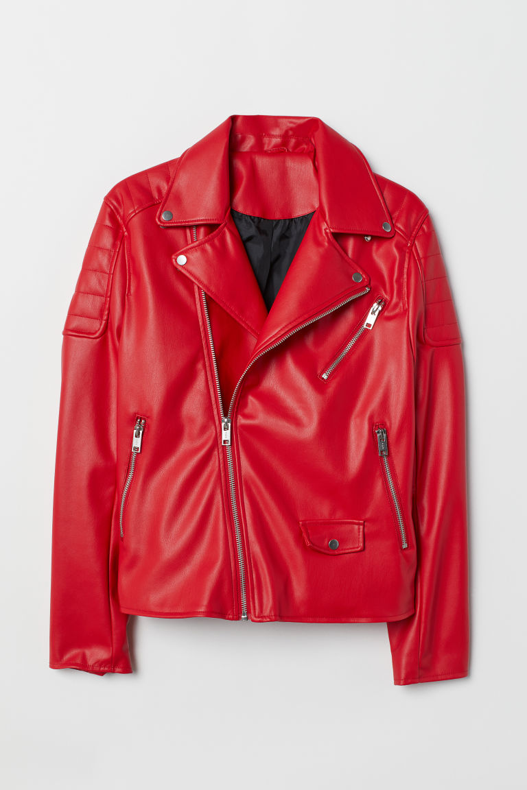 Biker jacket - Bright red - Men | H&M CN