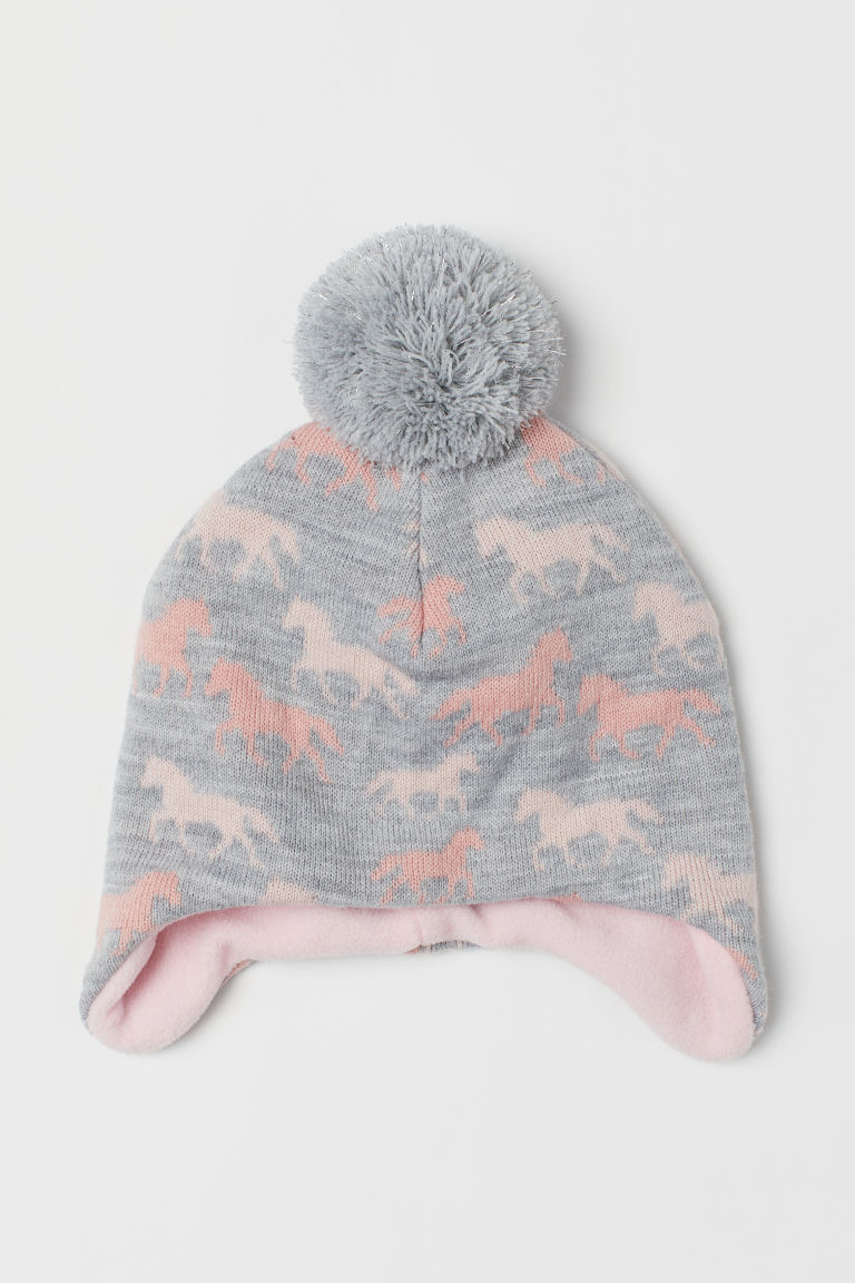 Fleece-lined Hat - Light gray/horses - Kids | H&M CA