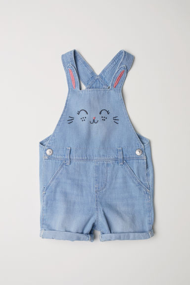 Denim dungaree shorts - Light blue/Rabbit - Kids | H&M