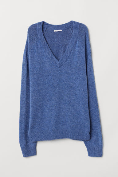 V-neck jumper - Blue marl - Ladies | H&M