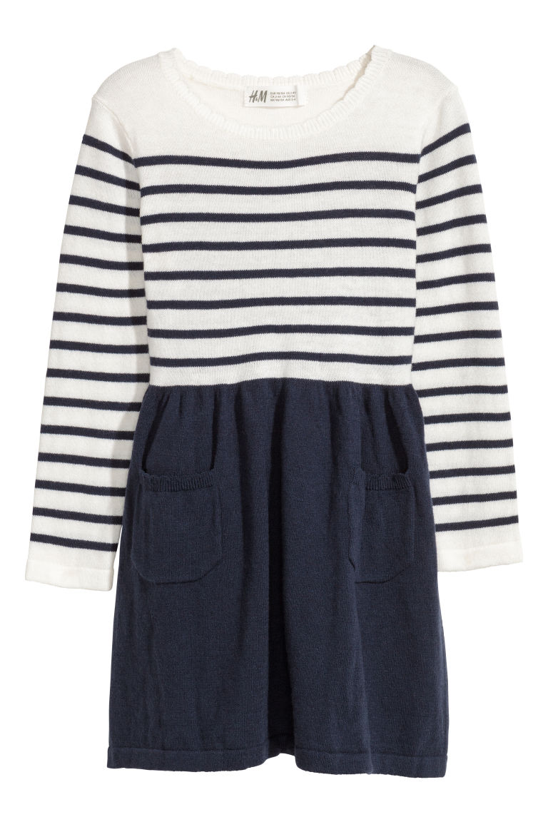 Fine-knit dress - Dark blue/Striped - Kids | H&M CN