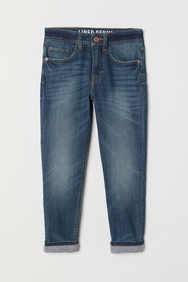 Tapered Fit Lined Jeans - 牛仔蓝 - Kids | H&M CN