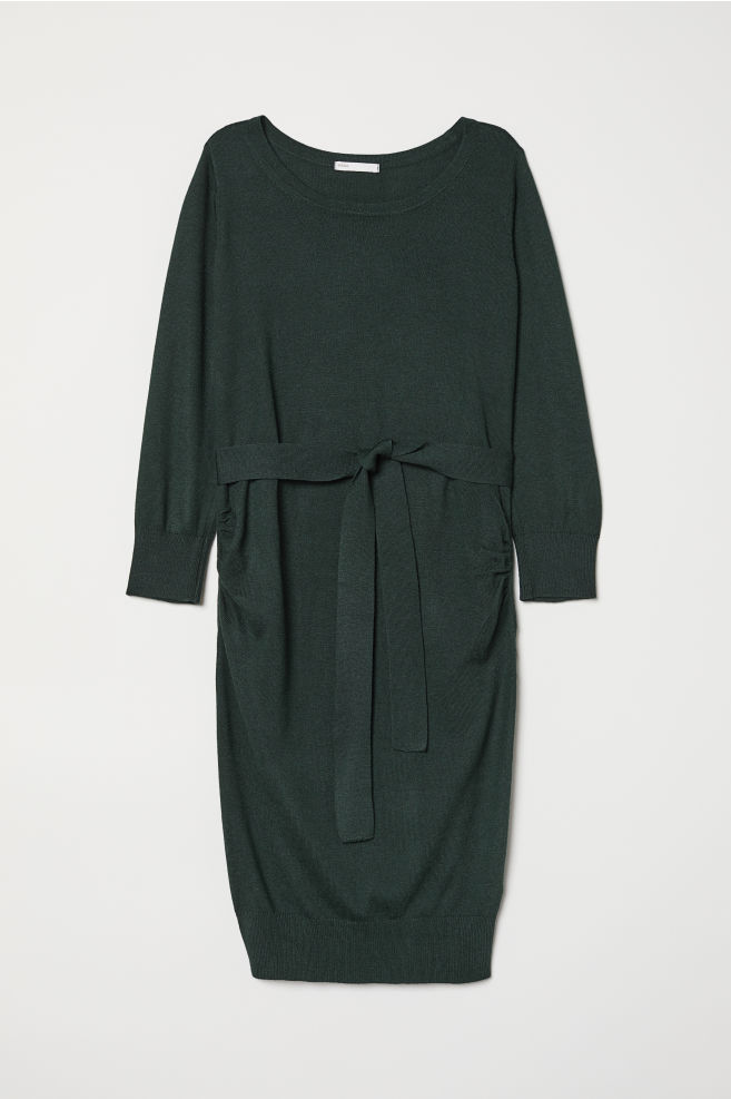 474dfb4a00 MAMA Fine-knit Dress - Dark green - Ladies