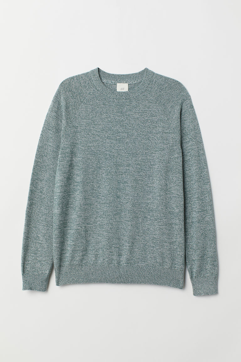 Cotton raglan-sleeved jumper - Green marl - Men | H&M