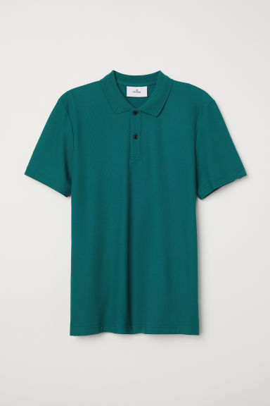 Cotton polo shirt - Emerald green - Men | H&M CN