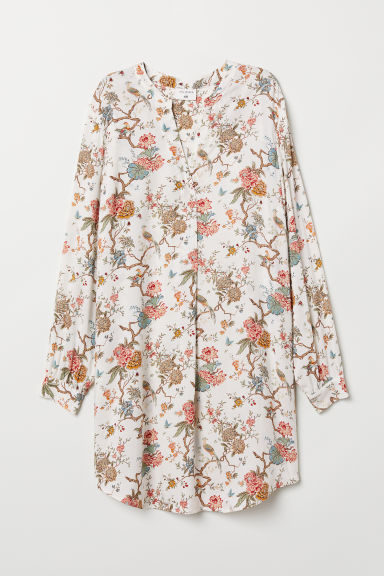 Patterned viscose dress - Natural white/Floral - Ladies | H&M CN