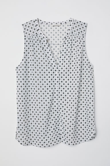 Sleeveless top - White/Patterned - Ladies | H&M