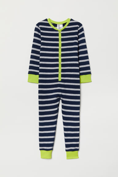 All-in-one pyjamas - Dark blue/Grey striped - Kids | H&M GB