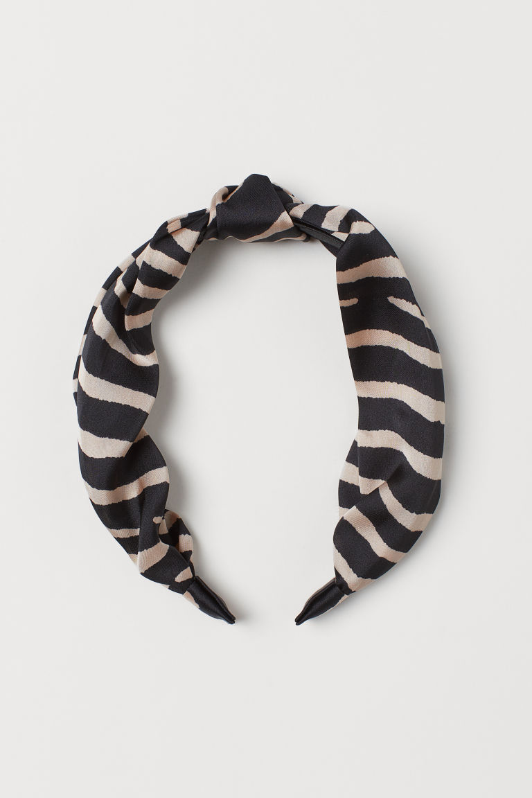Alice band with a knot - Beige/Zebra print - Ladies | H&M GB