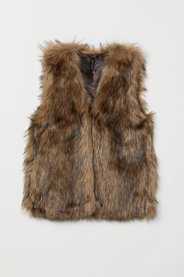 Faux Fur Vest - Brown - Ladies | H&M US 1