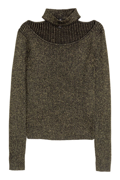 Glittery jumper - Black/Gold-coloured - Ladies | H&M CN