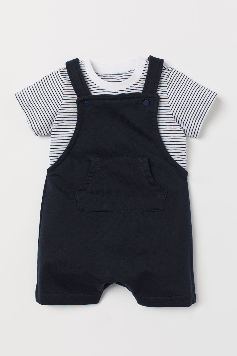 Dungaree shorts and T-shirt - Dark blue -  | H&M IE