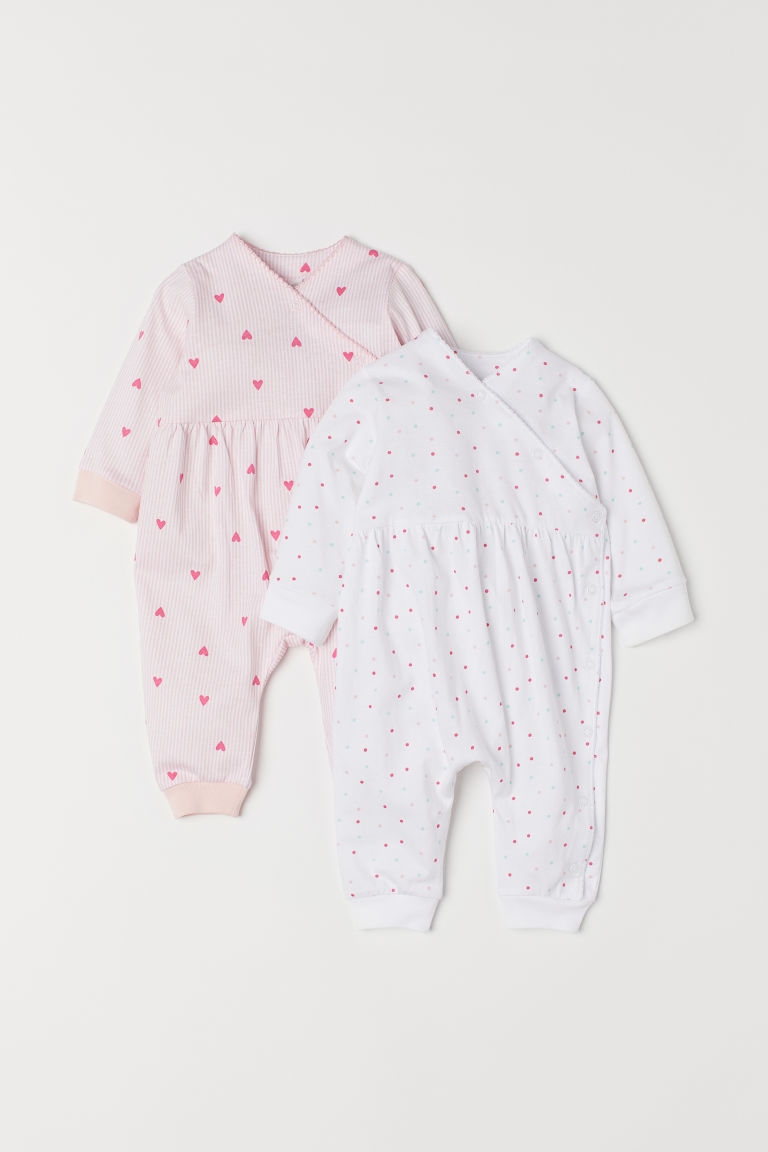 2-pack all-in-one pyjamas - Pink/Hearts - Kids | H&M