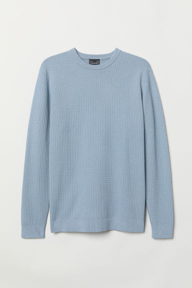 Premium cotton jumper - Light blue - Men | H&M
