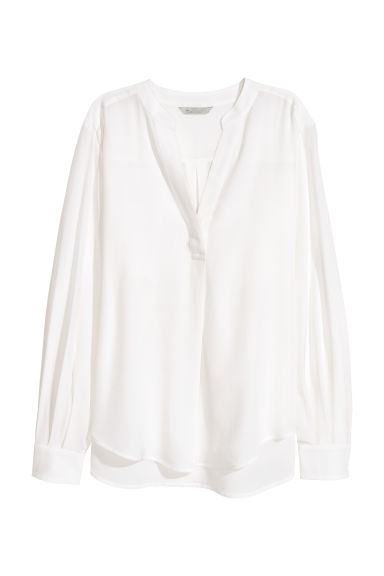 Silk blouse - White -  | H&M CN