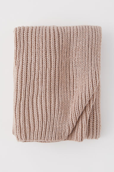Ribbstickad pläd - Beige - Home All | H&M FI