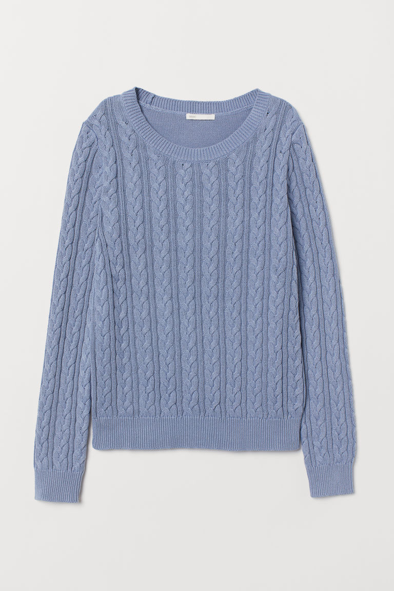 Cable-knit jumper - Light blue - Ladies | H&M GB