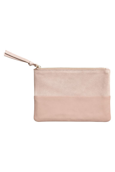 Leather and suede pouch - Powder pink -  | H&M
