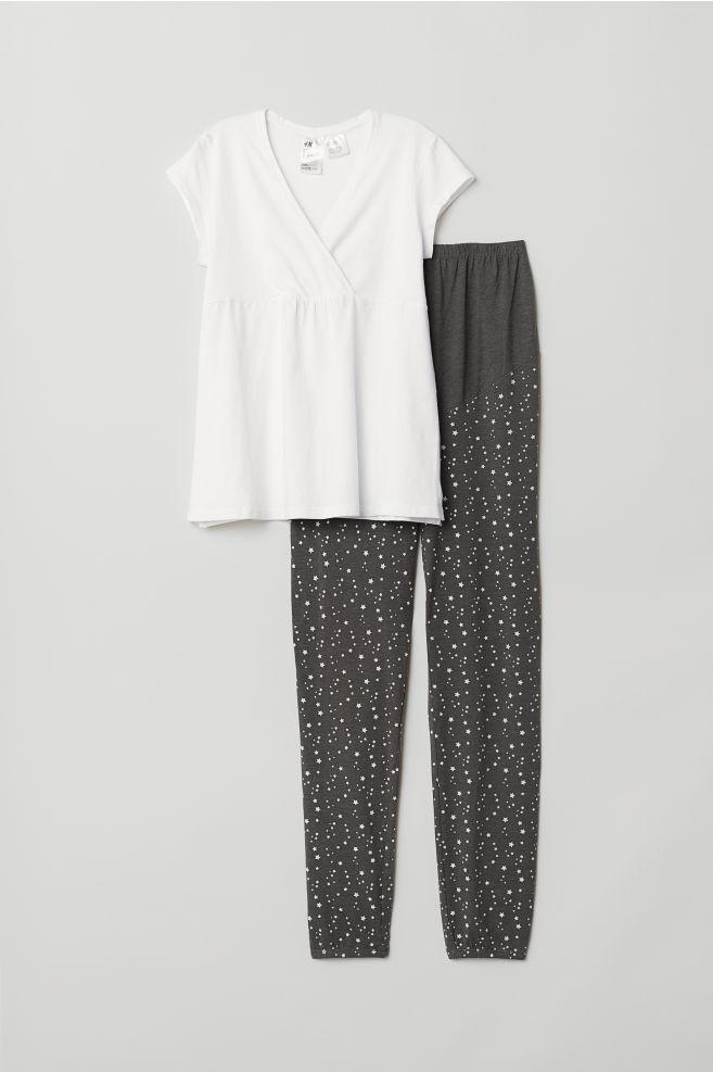 72450722d MAMA Pijama de lactancia - Blanco Estrellas - MUJER