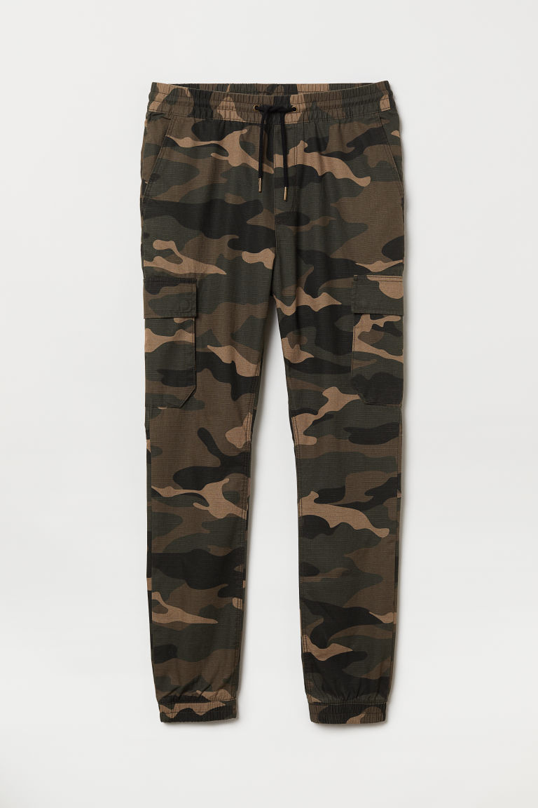 Cargo joggers - Dark green/Patterned - Men | H&M