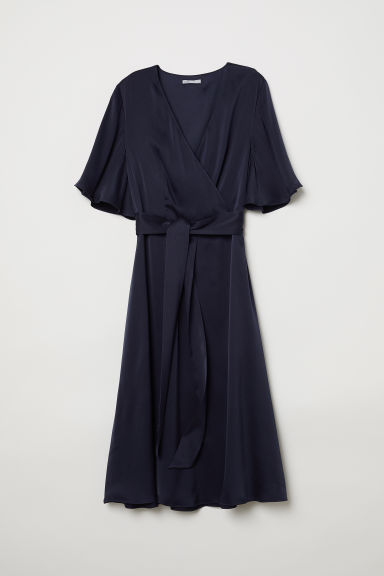 V-neck silk dress - Dark blue - Ladies | H&M GB