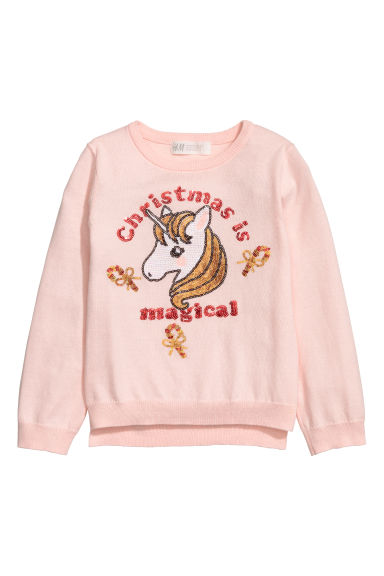 Sequined jumper - Light pink/Unicorn - Kids | H&M IE