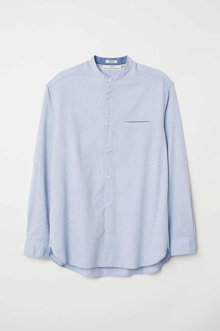 Grandad shirt - Light blue - Men | H&M