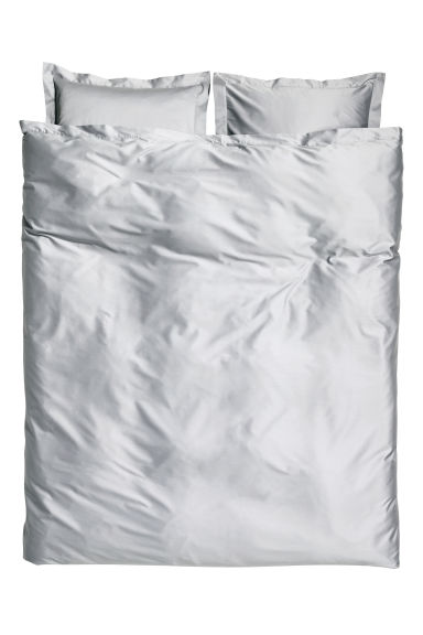 Cotton satin duvet cover set - White/Anthracite grey - Home All | H&M CN