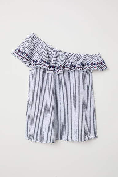 One-shoulder top - Dark blue/Striped - Ladies | H&M CN