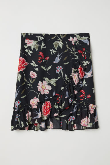 Chiffon skirt - Black/Floral - Ladies | H&M CN