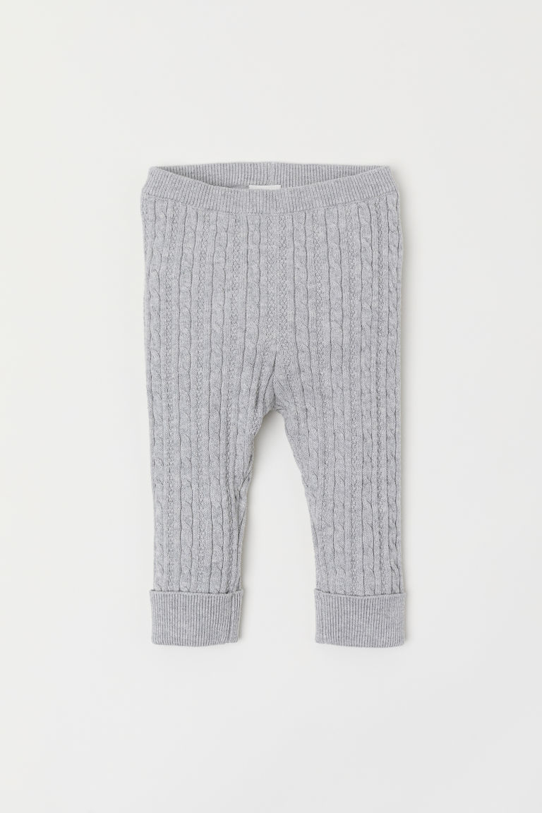 Fine-knit leggings - Light grey marl - Kids | H&M