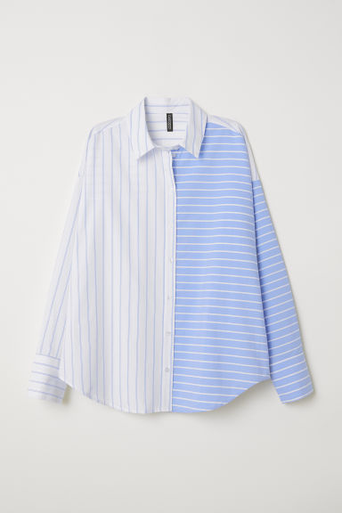 Striped Shirt - White/blue striped - Ladies | H&M US