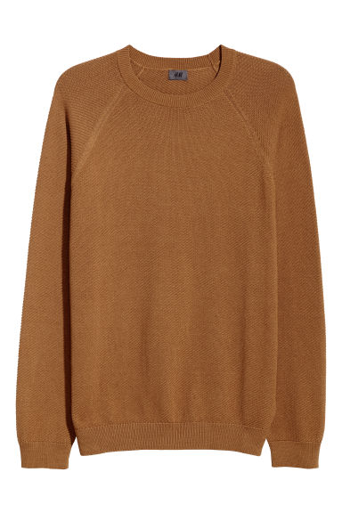Knitted pima cotton jumper - Camel - Men | H&M