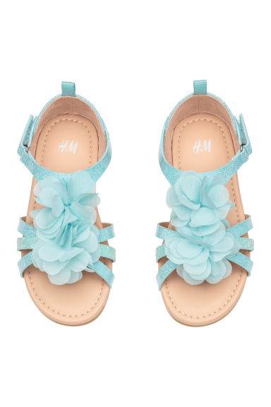 Appliquéd sandals - Light turquoise -  | H&M