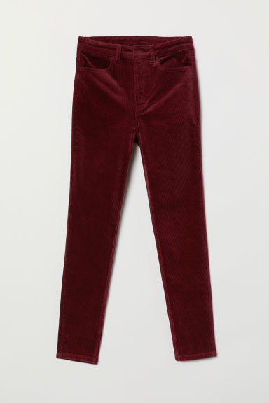 Ankle-length corduroy trousers - Burgundy -  | H&M CN