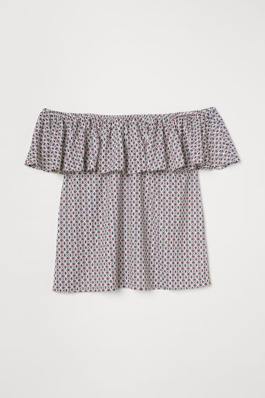 Short-sleeved top - White/Patterned - Ladies | H&M CN